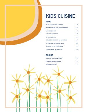 Bright Kids Menu