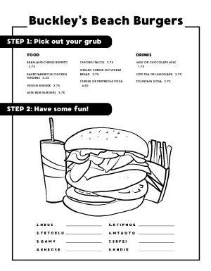 Burger Kids Menu