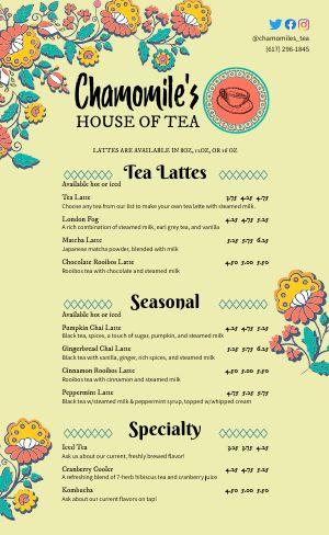 Sample Teahouse Menu