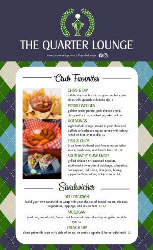 Golf Course Food Menu