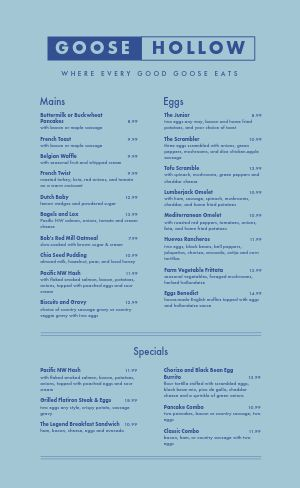 Blue Brunch Menu