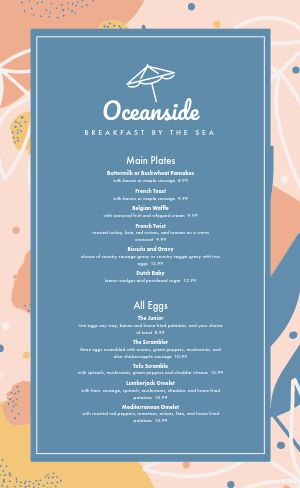Oceanside Breakfast Menu