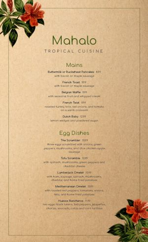 Island Breakfast Menu