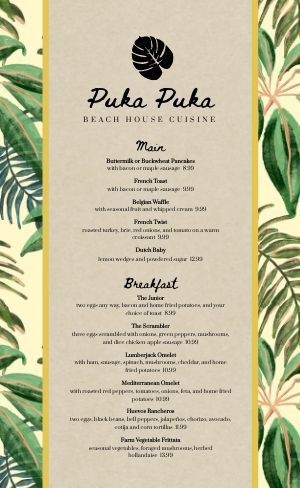 Beach Breakfast Menu