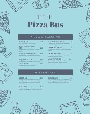 Pizza Truck Menu Poster