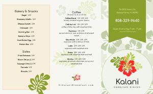 Hawaiian Breakfast Takeout Menu