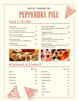 Pizza Cart Menu