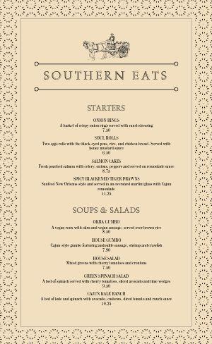 Southern Food Menu