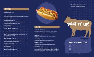 Beef Burger Takeout Menu