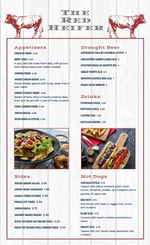 American Beer Burger Menu