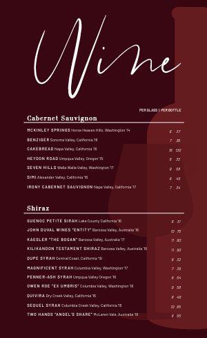 Fine Dining Wine Menu