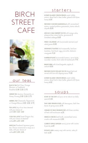 Simple Cafe Tea Menu