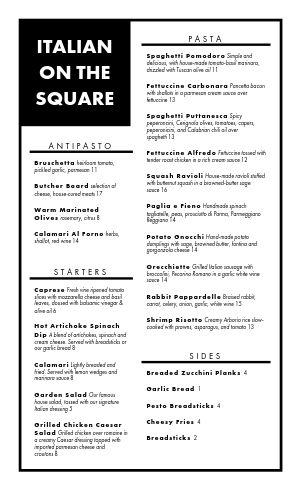Editable Italian Menu