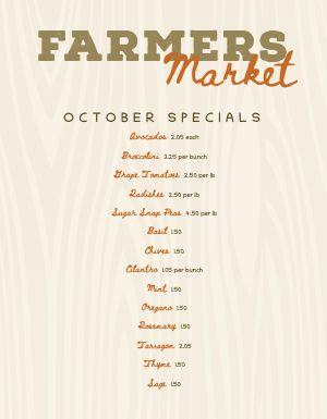 Fall Farmers Market Menu