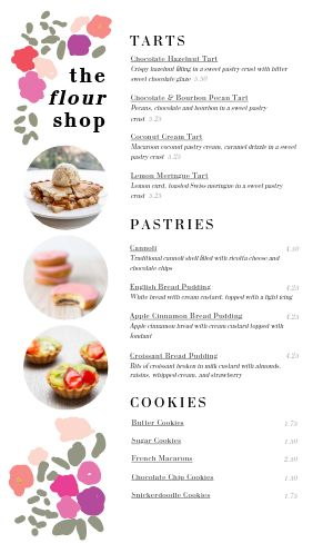 Floral Bakery Menu