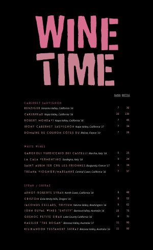 Wine Time Menu