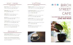Simple Cafe Tea Takeout Menu