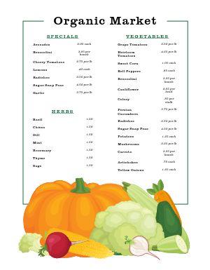 Autumn Farmers Market Menu