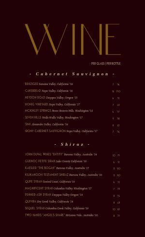 Wine Drink List