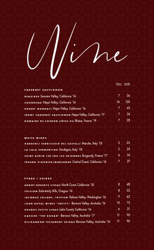 Simple Wine Menu