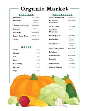 Autumn Farmers Market Menu Poster