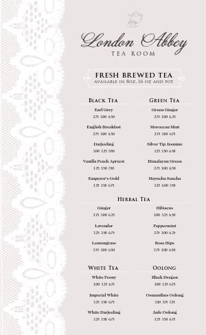 English Tea Menu