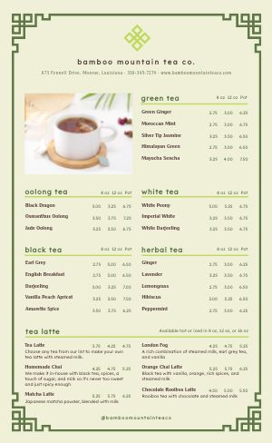 Tea Company Menu