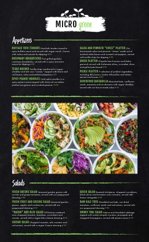 Vegan Salad Menu