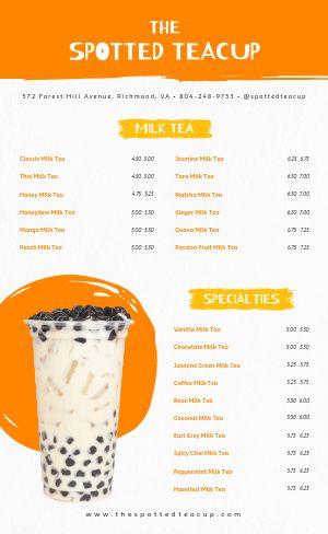 Milk Tea Menu