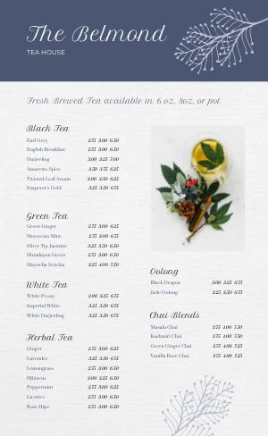 Editable Tea Menu