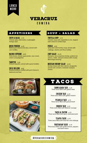 Mexican Lunch Menu