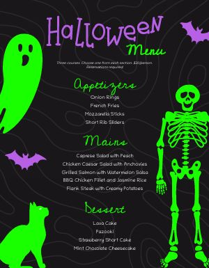 Halloween Menu Sample