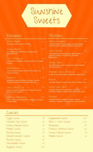 Orange Dessert Menu