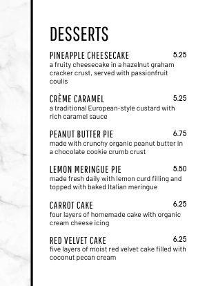 Cafe Dessert Tabletop Insert