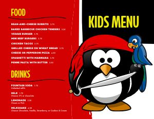 Pirate Children's Menu