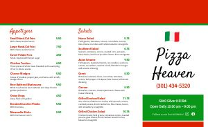 Pizza Heaven Takeout Menu