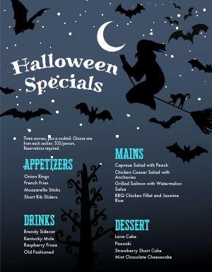 Halloween Menu Example