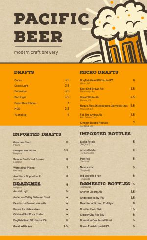 Craft Brewery Menu