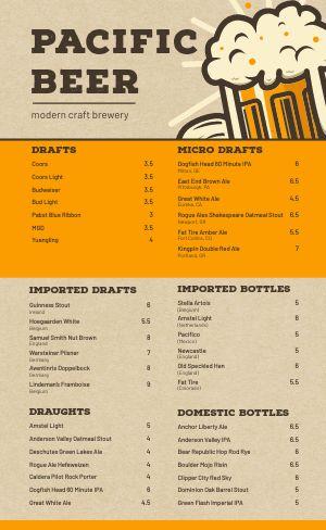 Craft Brewery Menu