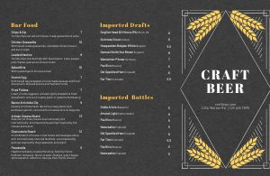 Craft Beer Folded Menu