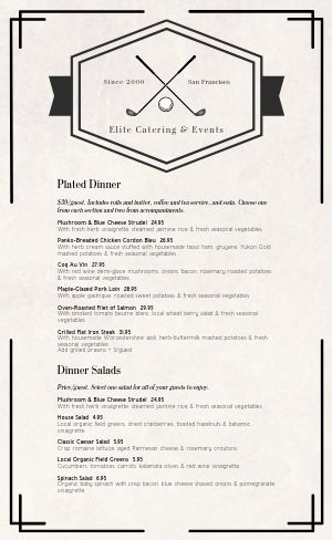 Elite Catering Menu