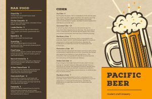 Craft Brewery Folded Menu