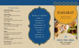 Customizable Middle Eastern Takeout Menu