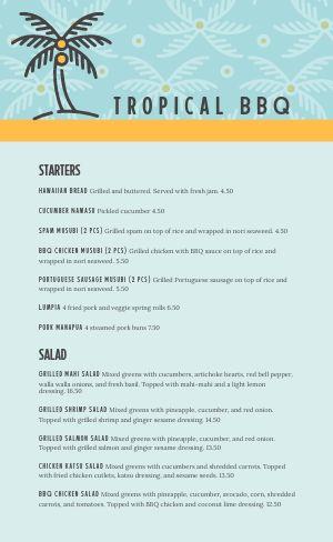 Sample Hawaiian BBQ Menu