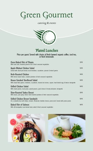 Golf Catering Menu