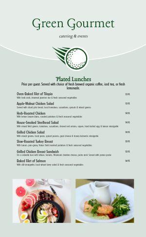 Golf Catering Menu