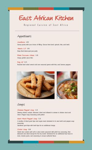 African Restaurant Menu Example