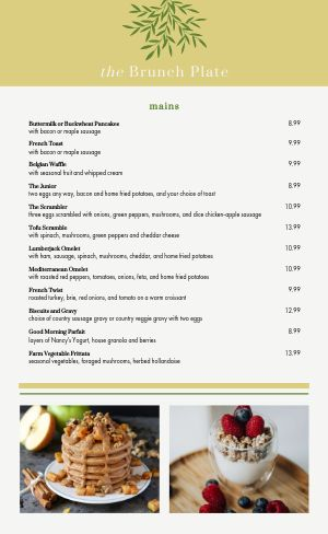 Spring Brunch Menu