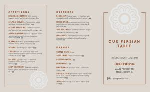 Simple Middle Eastern Takeout Menu Example