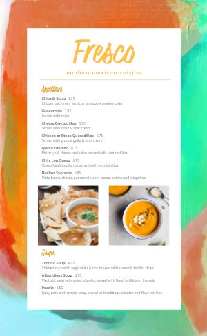 Contemporary Mexican Menu